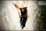 The girl from Weiner Lake, Alaska powering through the crux on The Eternal Fatalist 5.11c, Outrage Wall.