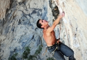 John Garcia eying up the final crux on Nemo 5.13b, The Surf Bowl.