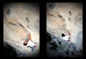 Wes Green huckin' for the lip and entertaining some air time on Bottom Feeder 5.12d, The Surf Bowl.