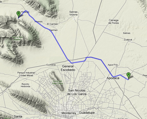 Route from Monterrey Airport to Potrero Chico